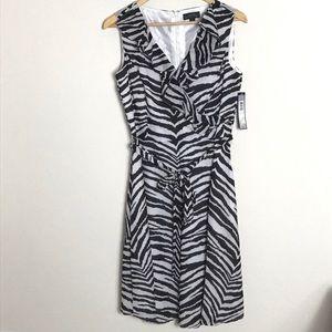 Tahari zebra ruffle dress